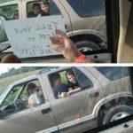 Flashing mom in car