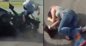woman severs foot in motorbike crash