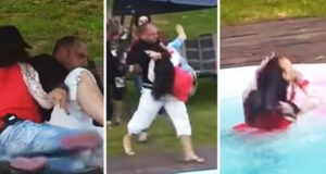 Man Throws Angry Woman In Pool